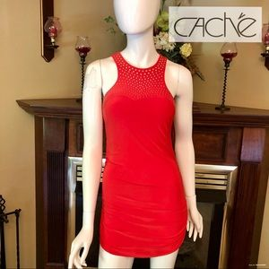 LIKE NEW - Cache - Coral Embellished Mini Dress -M